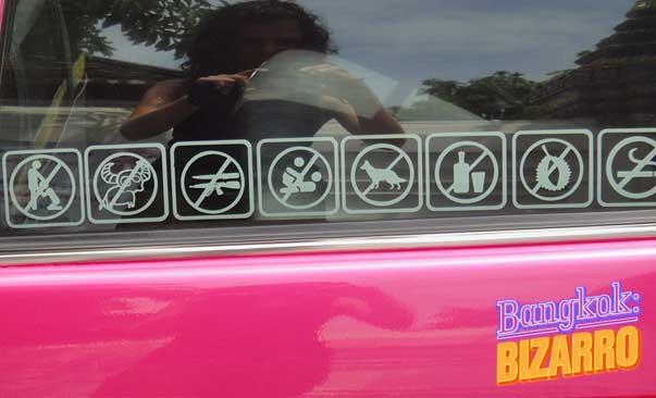 Prohibiciones taxi en Bangkok Tailandia