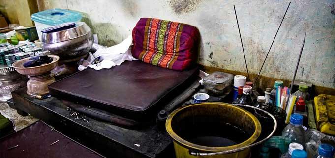 La mesa de trabajo del monje.