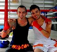 Bali y Luis entrenando Muay Thai