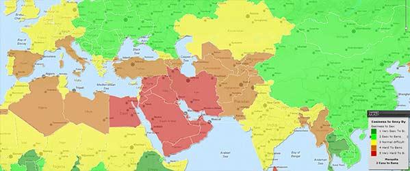 Mapa de lo difícil que es el sexo en el mundo