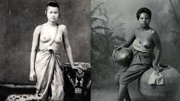 La moda femenina en Tailandia -y en casi todo el Sureste Asiático- pasaba por enseñar tetas. El 'underboob' era un juego de niños. Fotos: Cornell University Library.