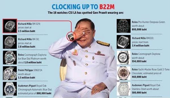 Prawit militar tailandia corrupción relojes
