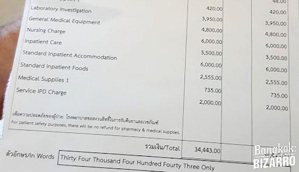 Factura hospital Tailandia